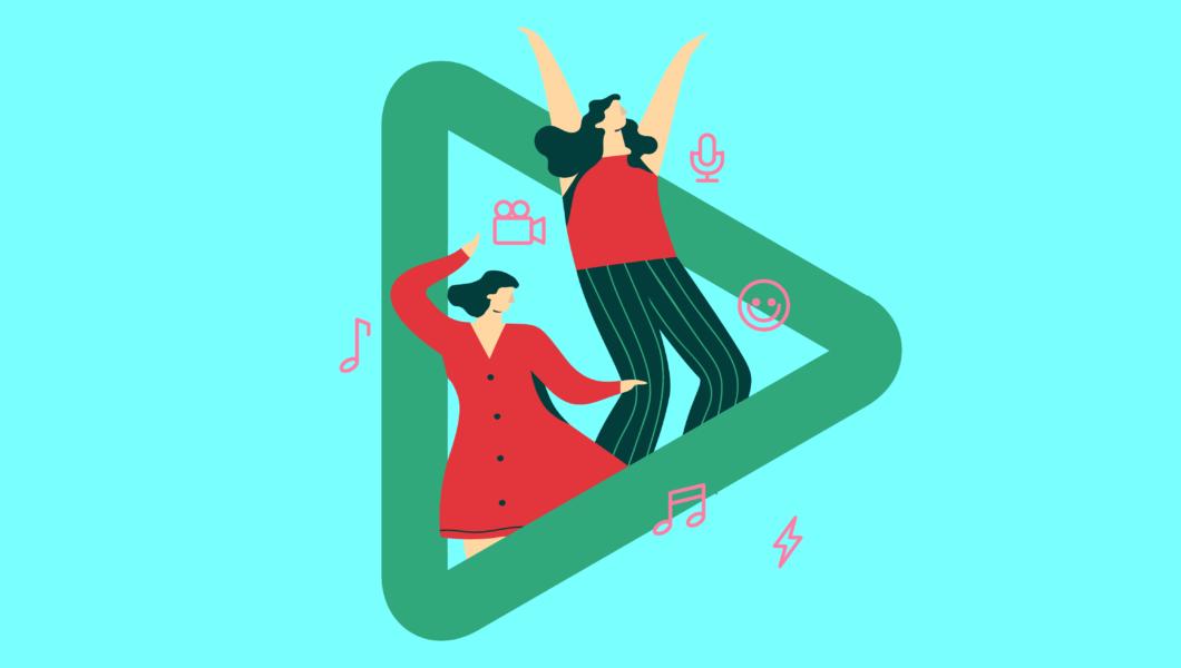 ilustracja, dwie ciemnowłose kobiety tańczą