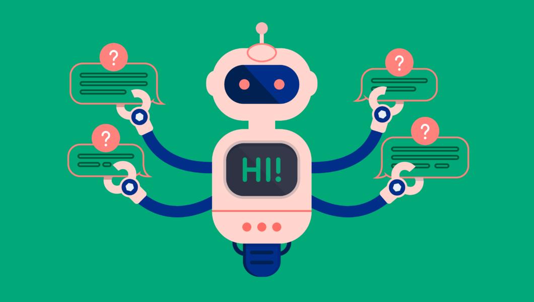 ilustracja, zielone tło a na nim różowo-granatowy czteroręki robot