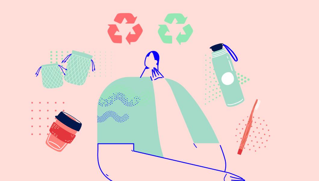 ilustracja, różowe tło a na nim postać siedzi, wokół jej głowy latają butelka, szczoteczka, siatka, kubek